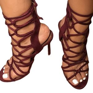"""Lola Shoetique (Miss Lola)""""Obsession"""" Womens Strappy Heels in Wine, size 7"""